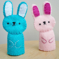 Handmade Finger Puppets Pink bunny and blue by TheOffbeatBear