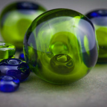 Lampwork Hollow Glass Bead Within a Bead Set in Cobalt Blue and Lime Green
