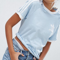 adidas Originals Unisex Easy blue Three Stripe Boyfriend T-Shirt