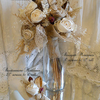 Rustic Burlap Bridal Bouquet with matching Grooms Boutonniere. One of a kind and ready to ship!