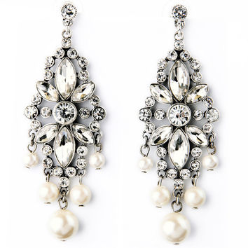 Crystals and Pearls Dangle Earrings