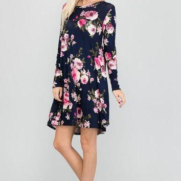 Easy Going Navy Floral Dress