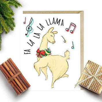 Fa la la la llama Classic Llama Funny Christmas Card Holiday Card