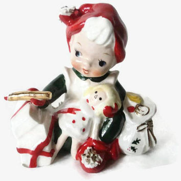 Lefton Exclusives Spaghetti Porcelain Santa's Helper Elf Figurine Painting Doll