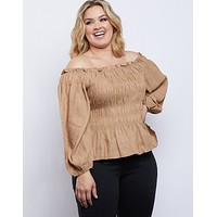 Plus Size Amy Smocked Long Sleeve Top