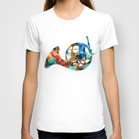 French Horn - Colorful Music By Sharon Cummings T-shirt by Sharon Cummings