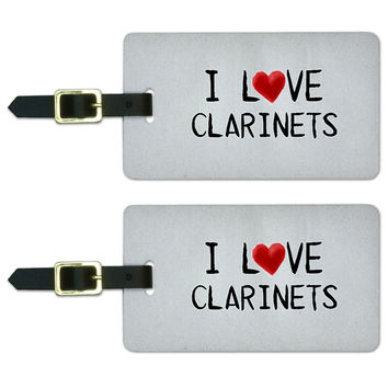 I Love Clarinets Written on Paper Luggage Tag Set