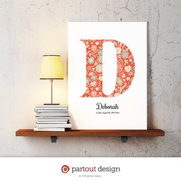 letter D baby nursery art monogram logo personalized gift baby name initial art print DIY printable letter nursery decor initial name art