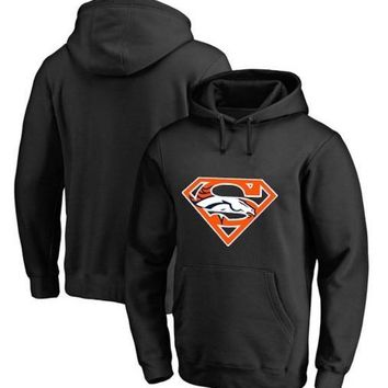 Men's Winter Broncos Fans Hoodies, High Quality Denver Sweatshirts Superman S Logo Picture Print Fashion Tops O-neck Pullover