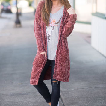 Wondrously Warm Cardigan, Dusty Rose