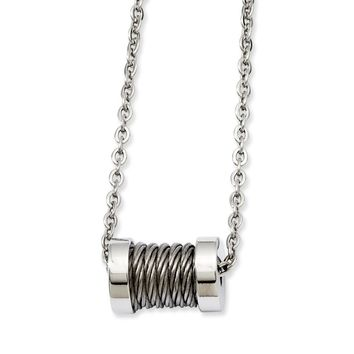 Stainless Steel Wire Barrel 24in Necklace