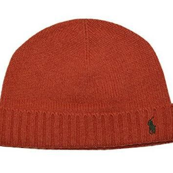 Polo Ralph Lauren Men's Lightweight Cashmere Blend Hat (One size, Dark Orange)