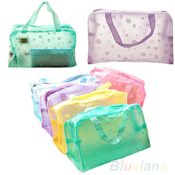 Hot Portable Floral Print Transparent Waterproof Makeup Make up Cosmetic Bag Toiletry Bathing Pouch Organizer Holder