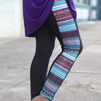 Tribal Rhinestone Leggings {Purple/Teal}
