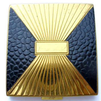 Vintage Black & Gold Powder Mirror Compact