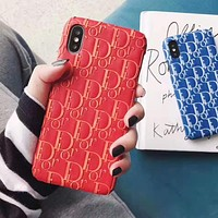 DIOR Fashion Women Men iPhone Phone Cover Case For iphone 6 6s 6plus 6s-plus 7 7plus iPhone X XR XS XS MAX Red