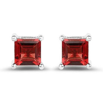 Natural 2.64CT Princess Cut Red Garnet Stud Earrings