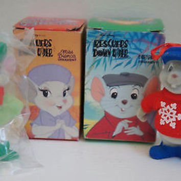 "DIsney ""Rescue Down Under"" Bianca & Gus 1990 Mc Donalds Christmas Ornaments"