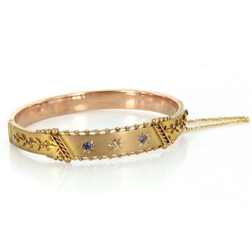 Antique Victorian Bangle Bracelet Sapphire Diamond 9 Karat Rose Gold Vintage Jewelry