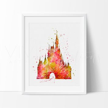 Cinderella Castle 4 Watercolor Art Print