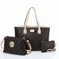 """MICHAEL KORS"" women shopping shoulder bag female inclined shoulder bag brown three piece Coffee G-LLBPFSH"