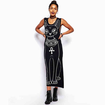 Black Egypt Cat Print Maxi Dress