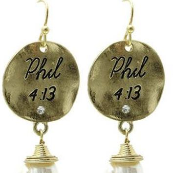 Hammered Metal Coin Scripture Philippians 4:13 Earrings
