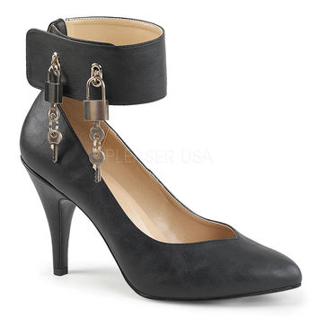 "Dream 432 Black Leatherette Ankle Cuff With Lock & Keys - 4"" Heels"