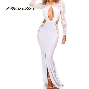 Winter  Sexy Long Sleeve Lace Cut-out Floor Length White Party Maxi Gown Clubwear Dress LC6838  vestidos longo festa noite
