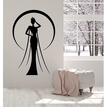 Vinyl Wall Decal Miss Beauty Crown Lady In Evening Dress Stickers Mural (g619)