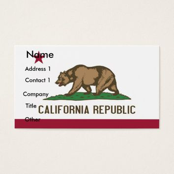 Business Card with Flag of California U.S.A.
