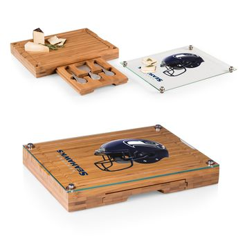 Seattle Seahawks 'Concerto' Glass Top Cheese Board & Tools Set-Bamboo Digital Print