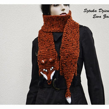 Long Orange fox scarf , hand knit scarf , Orange scarf , Scarf Made to order, fox scarf