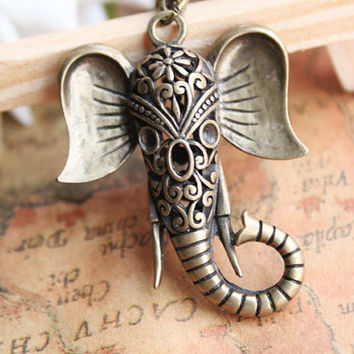 Auspicious necklacehollow out elephant necklacethe by fabuloustime