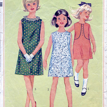 1960's Girls' One-piece Jiffy Dress - 60s - Vintage Shift Dress Sewing Pattern  - Simplicity 6378 - Breast 26""