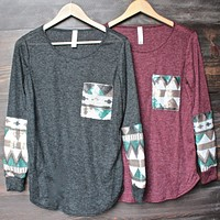final sale - chevron aztec sequin sleeves & pocket lightweight long sleeve shirt (2 colors)