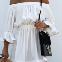 off Shoulder Elastic Waist Solid Dress - AZBRO.com