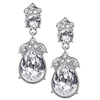 Givenchy Magma Crystal Teardrop Earrings - Silver/Crystal