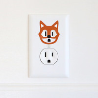 Amaze Fox - Electric Outlet Wall Art Sticker - Removable