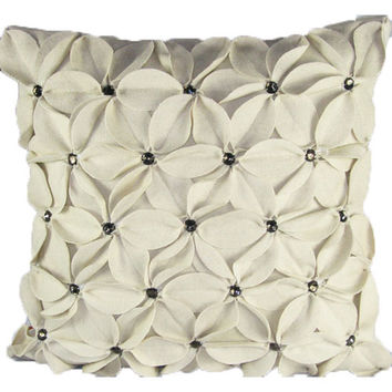 Design Accents SL 30168B - Poinsettia Ivory Ivory Poinsettia With Jewels Felt 20 x 20 Decorative Pillow