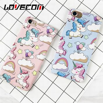 LOVECOM Cute Rainbow Horse Phone Case For iphone 5 5S SE 6 6S 7 7 Plus Matte Hard Plastic Back Cover Capa Coque