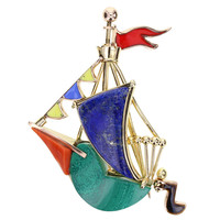 Cartier Paris Whimsical Multi-Gem Gold Sailing Ship Brooch