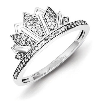 Sterling Silver Diamond Crown Ring