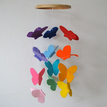 Butterfly Baby Crib Mobile Bright Rainbow by littlenestbox