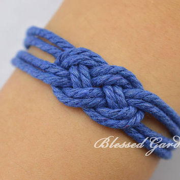 Nautical Rope Bracelet, Sailor Knot Bracelet, infinity bracelet,navy bracelet,Bridesmaids Jewelry, Bridesmaid Gift, Beach Wedding Jewelry