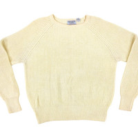 Ivory Ribbed Pullover Sweater - Knit Jumper Cream White Crew Neck Preppy Ivy League Menswear - Men's Size Medium Med M
