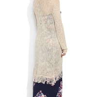 Marled Knit Duster Cardigan with Long Sleeves and Fringe