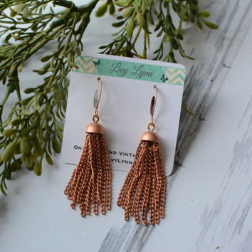 Mid-Century Japanese Copper Chain Dangle Earrings