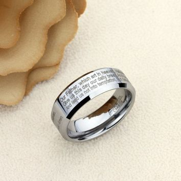Personalized Outside Inside Engraving Tungsten Carbide Wedding Band Ring 8mm Nano Engraving Mass Phrase Upto 400 Characters - XDPTR009NANO
