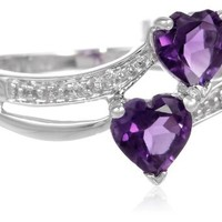 10k White Gold Double Heart-Shaped Amethyst with Diamond Heart Ring (0.007 cttw, J-K Color, I2-I3 Clarity)